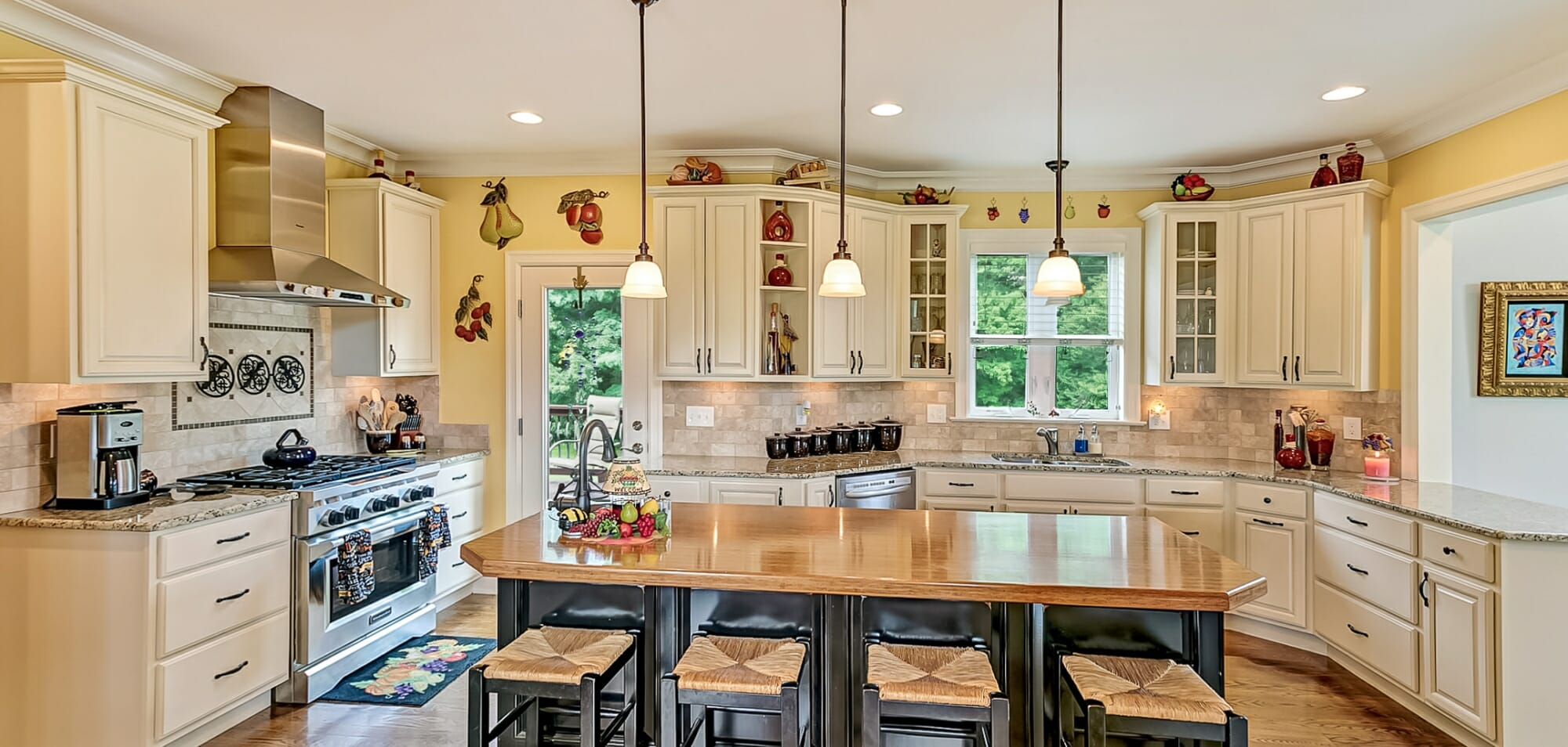 Kitchen stainless steel appliances, Large kitchen Island with 4 stools just gorgeous
